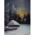 Заснеженый домик в лесу