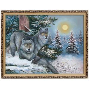 Полнолуние , волк и волчица