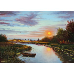 Восход солнца у  озера