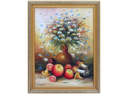 Натюрморт с ромашками, яблоками и цветами