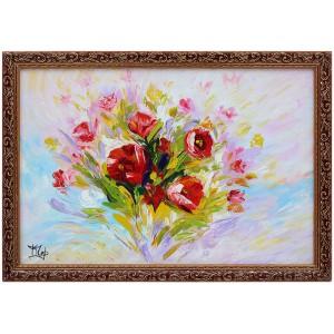 Натюрморт с цветами выполнен мазками