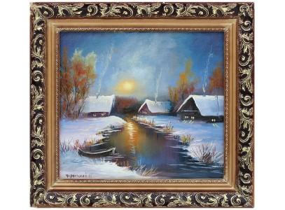 Ночной зимний пруд с избушками