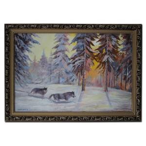 Волки в зимнем лесу
