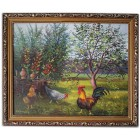 Курица с петухом в саду