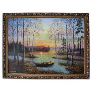 Закат солнца у разлива реки