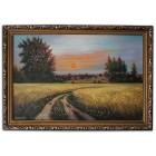 Закат солнца у пшеничного поля