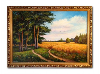 Дорога у леса с пшеничным полем